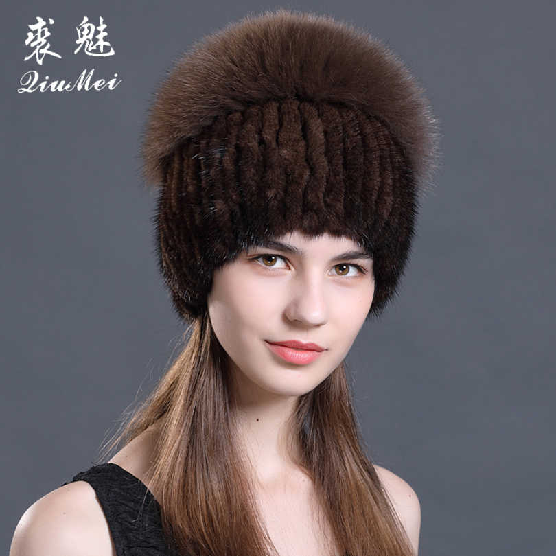 ea110191f37 2018 New Style Knitted Real Mink Fur Hats Women Warm Fur Caps with Fox Fur  Tops