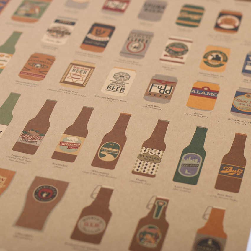 البيرة موسوعة الرسم التاريخ التطوري منصة مشروبات الزينة المطبخ الرجعية خمر ملصق جدار ملصقا