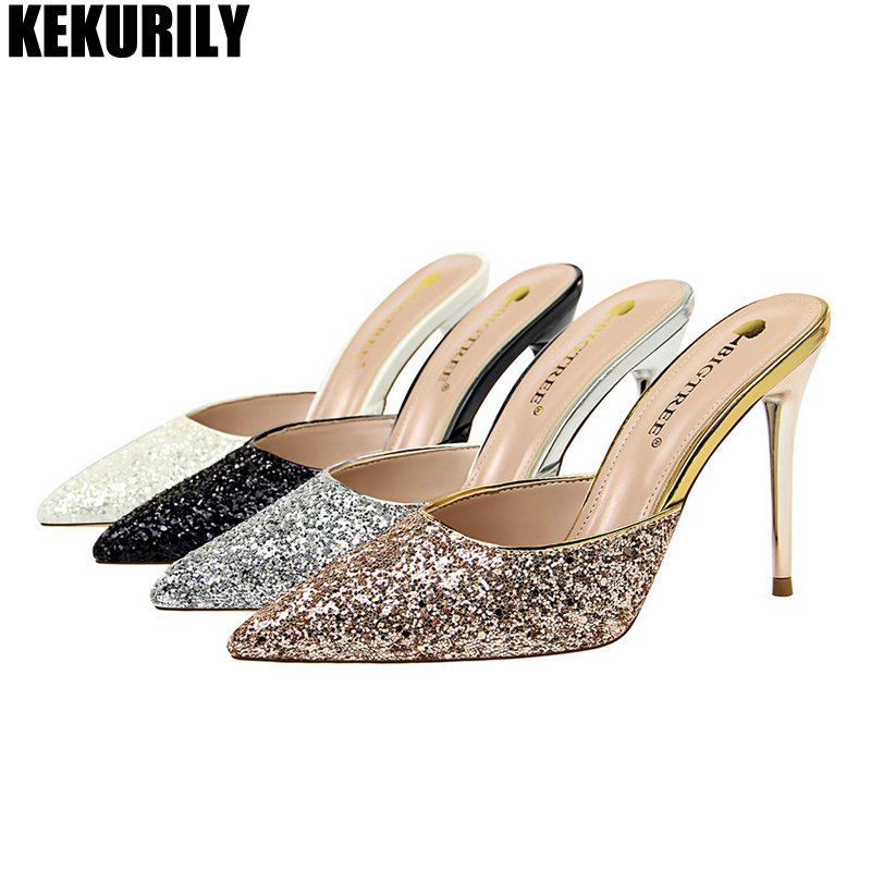Woman Shoes Fashion Glitter Bling High Heels Slides Pointed toe Slippers Summer Mules ladies Sandals Silver Black White Champagn