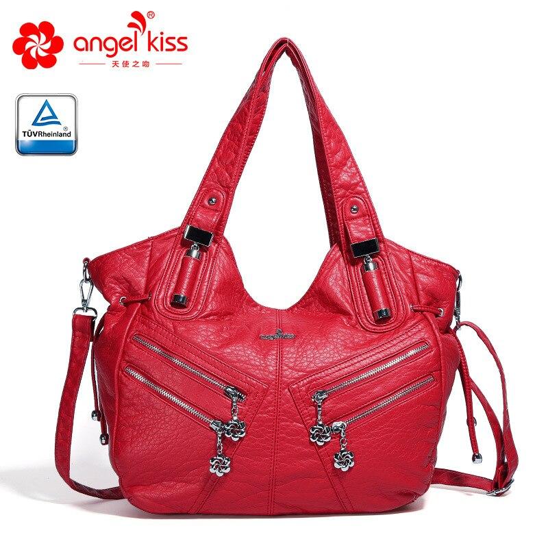 New Burlie ladies casual Hobos Women Messenger Bags Crossbody Soft washed PU Leather Shoulder Bag Fashion