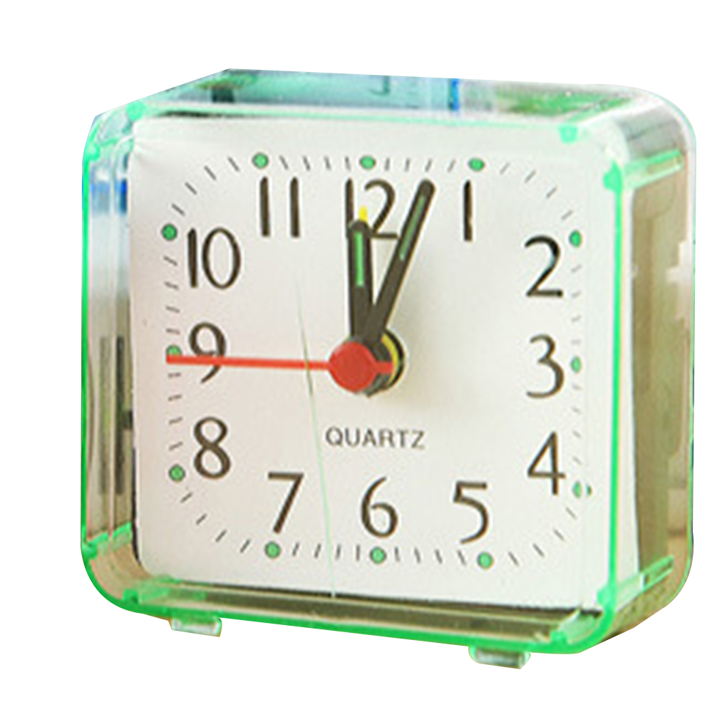 Square Small Bed Alarm Clock Transparent Case Compact Travel Clock Mini Mute Children Student Desk Watch