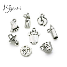 40pcs Tibetan Silver Plated Baby Born Cup Bottle Footprint Charms Pendants for Jewelry Making Findings DIY Handmade