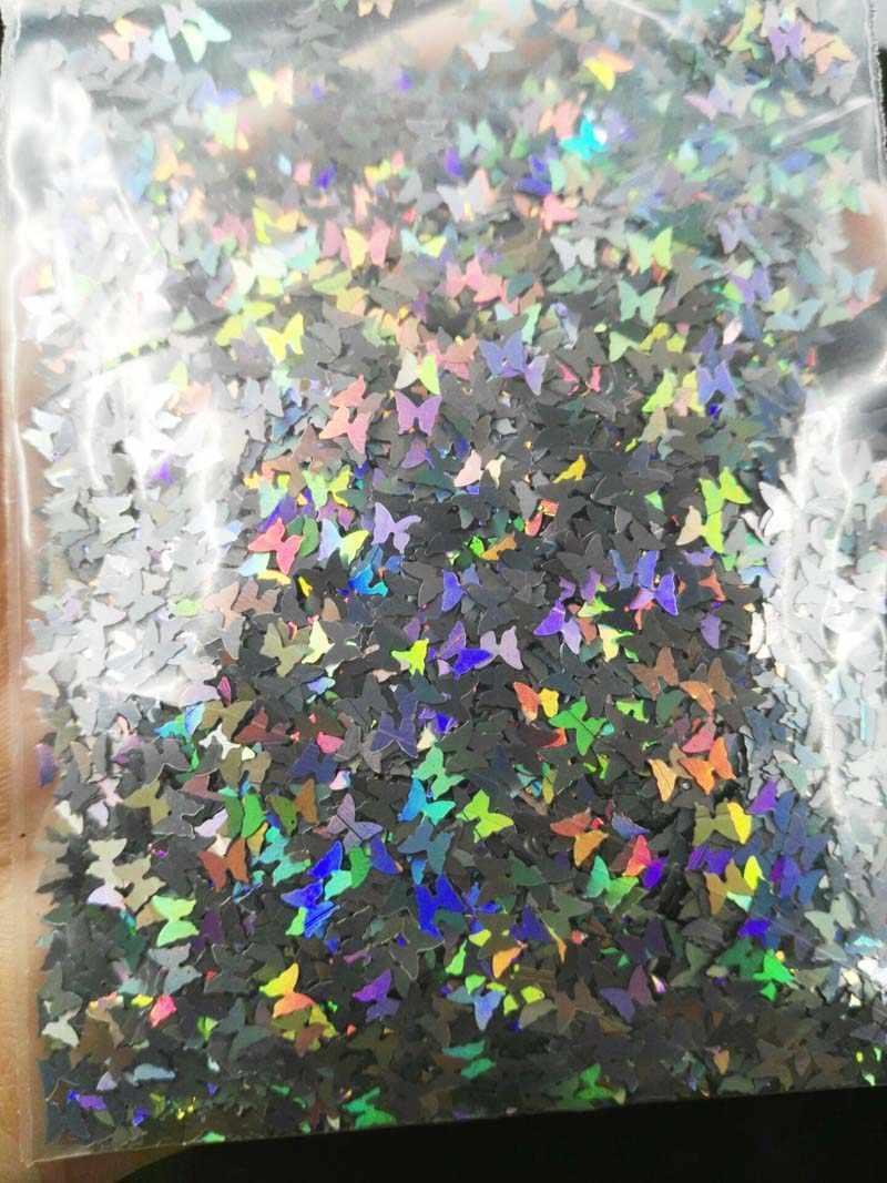 3Mm Laser Kupu-kupu Silver 10/Tas Laser Kupu-kupu Silver Payet Kuku Seni Glitter Bubuk untuk Nail Art glitter Cat Kuku