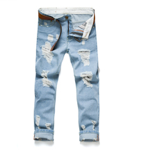 Hot Sell Blue Ripped Jeans Men With Holes Super Skinny Famous Designer Brand Slim Fit Destroyed