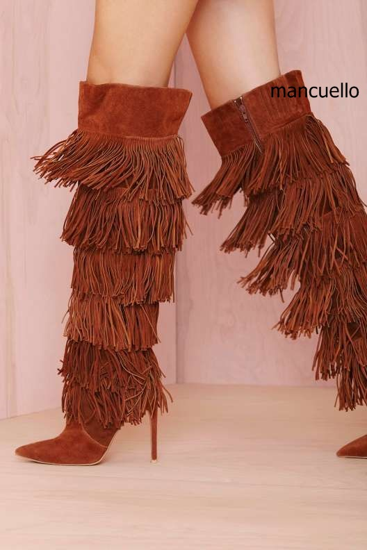 Chic Women Solid Brown Suede Flowing Fringe Stiletto Heels Knee High Boots Sexy Pointed Toe Side Zipper Tassel Long Boots hot selling chic stylish black grey suede leather patchwork boots mid calf spike heels middle fringe boots side tassel boots