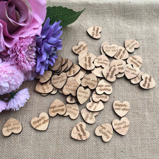 100pc Natural Wooden Heart Hily Ever After Table Confetti Vintage Rustic Wedding Decoration Photo Props