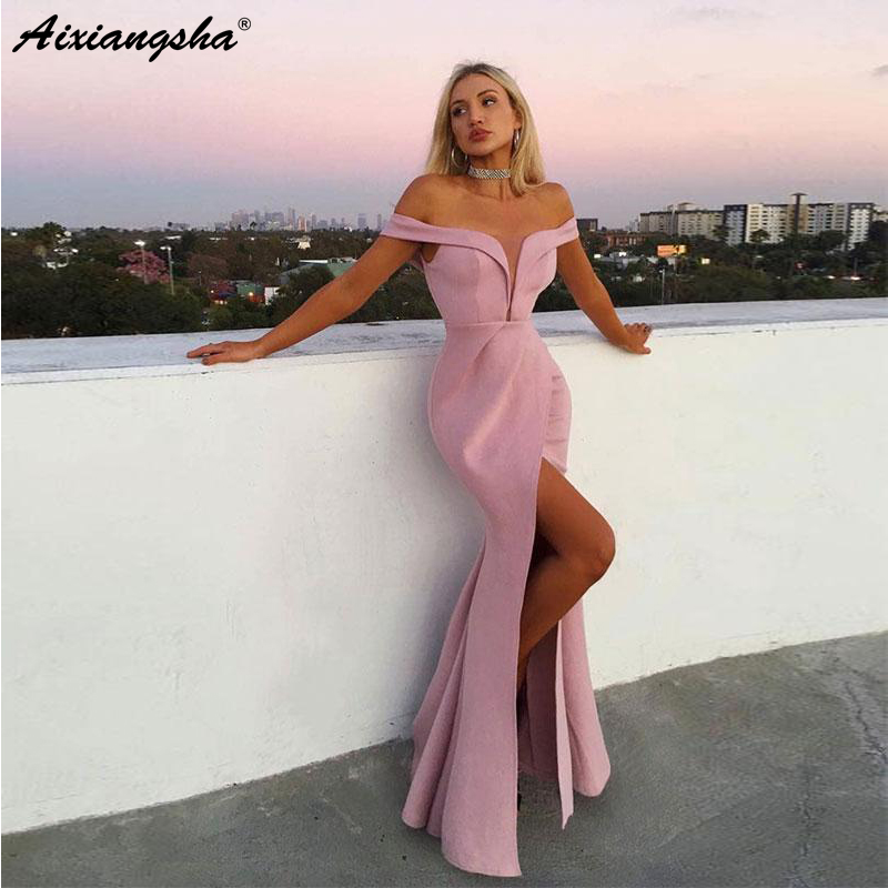 Off the Shoulder Pink Evening Gowns with Split Satin Mermaid   Prom     Dresses   Long