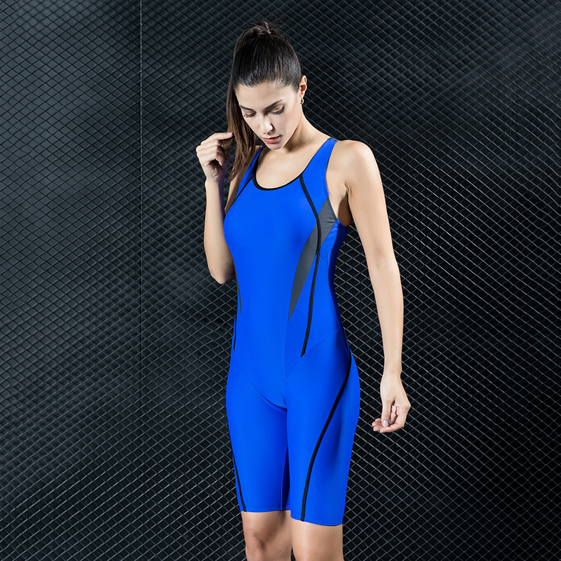 Professional Competition Sports Swimsuit One piece Swimwear 5 Points Pants Sports Suit Swimming Women Bodysuit Racing Swimsuit