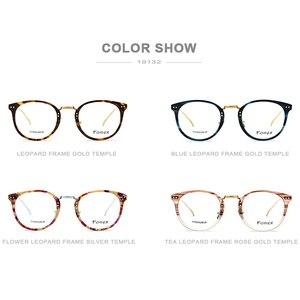 Image 5 - ピュアチタン処方メガネ、レトロなラウンド超軽量メガネ、アセテート男女通用のメガネフレーム 19132