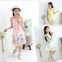 2016 new summer girls Sleeveless Chiffon dress Baby girl princess beach dresses Kids Casual dress Children clothing print flower