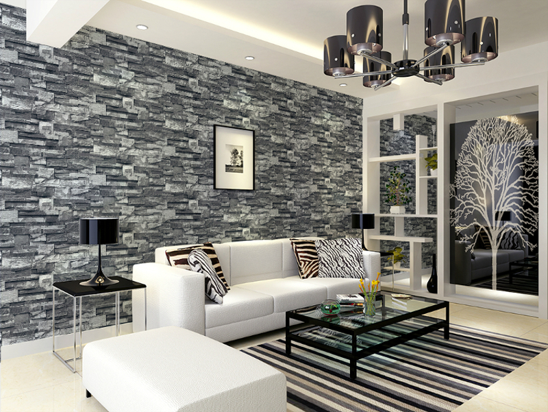 Grey Black Brick Wall Wallpaper Roll Faux Stone Effect Paper Coverings In Wallpapers From Home Improvement On Aliexpress