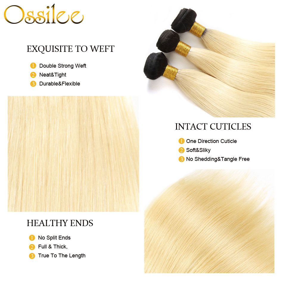 Ossilee Blonde Bundles with Closure 1B/613 Straight Hair Bundles With Frontal Closure Peruvian Hair Bundles with Closure NonRemy