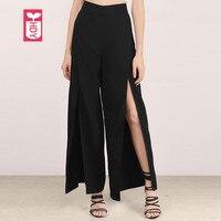HYD Novelty Ladys Loose Before Split Open High Waist Wide Leng Pants Womens Fashion Black Sweatpants