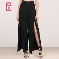 HYD Novelty Ladys Loose Before Split Open High Waist Wide Leng Pants Womens Fashion Black Sweatpants