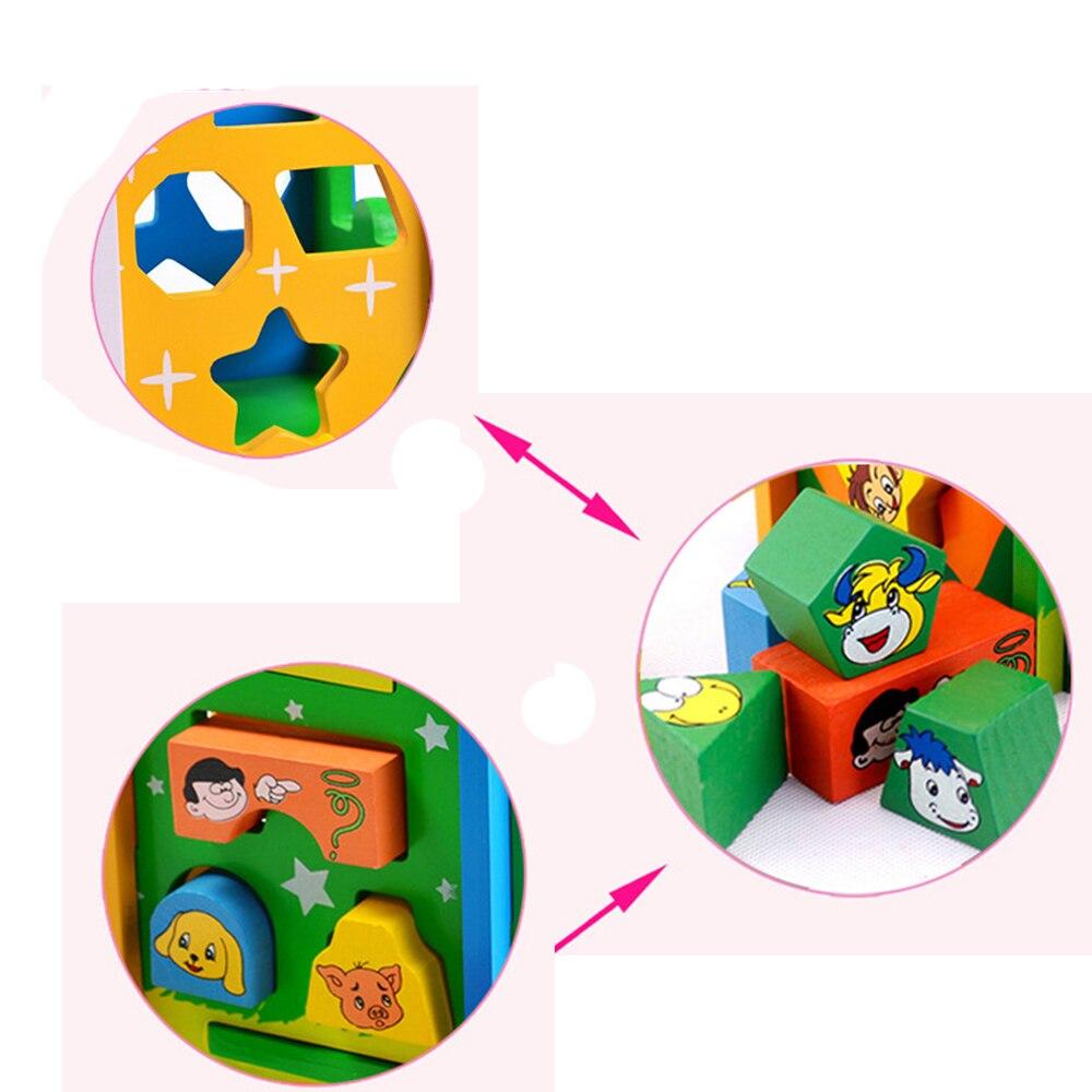 Jouets pour enfants enfant en bois jouet Cube forme géométrique apprendre bébé enfant en bas âge jeu éducatif préscolaire jouet reconnaissance Match Puzzle - 5