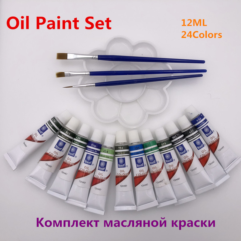 цена на Professional 12 ML 24 Colors Oil Paint Canvas Pigment Art Supplies Paints Each Tube Drawing Set Free For Brush And Paint Tray