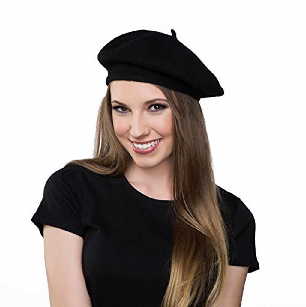 YOUYEDIAN solid black stretchy Soft and fashionable Women Winter Warm Casual Solid Cap Wool Beret Hat Artist Hat Ski Cap #newy25