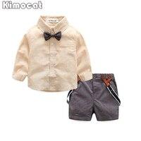 Gentleman baby boy kleding mode strikje shirt + broek jongen set pasgeboren jongen kleding sets Lente kleding