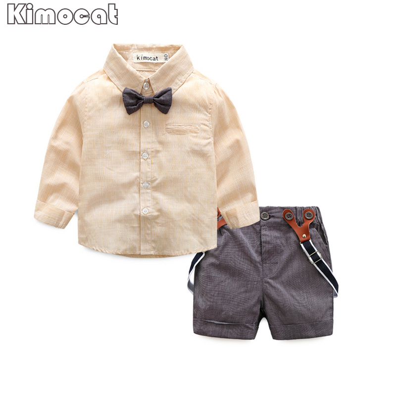 Gentleman baby boy clothes fashion bow tie shirt +pants boy set newborn baby boy clothing sets Spring clothes