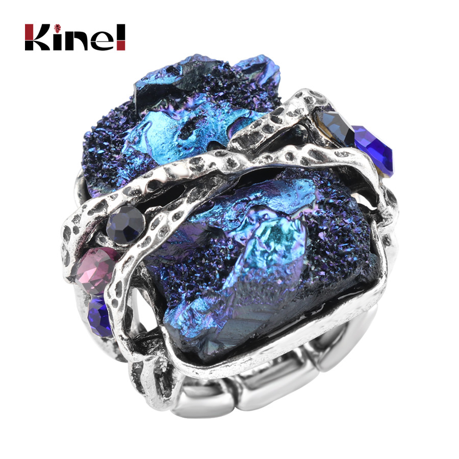 Kinel Natural Stone Ring Vintage Jewelry Antique Silver/Rose Gold Unique Punk Rock Crystal Stretch Ring Wholesale Dropshipping