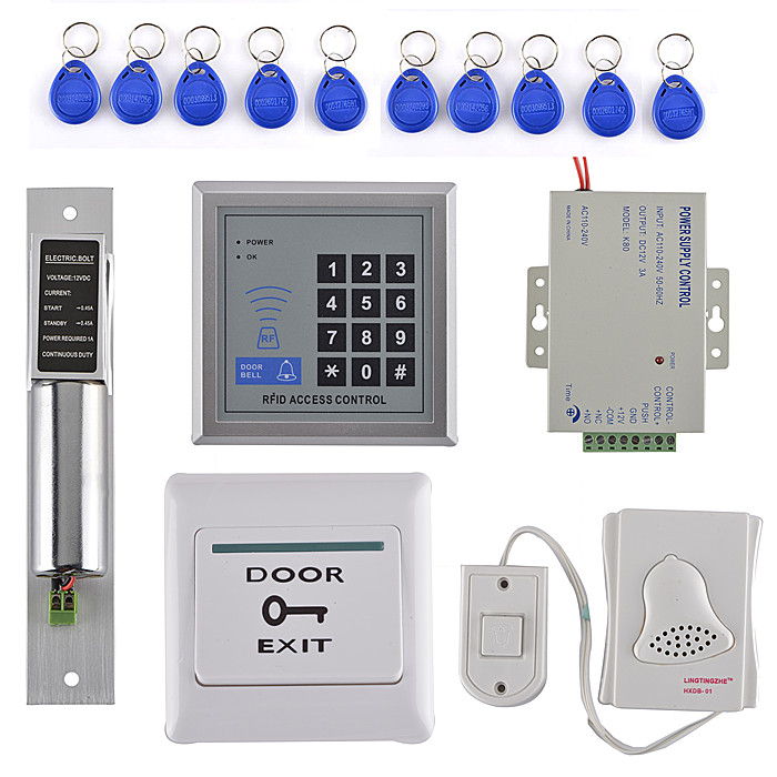 DIY Full Kit Access Control System With EM Reader +Strike Door Lock + Door Switch For Home/Office diysecur magnetic lock door lock 125khz rfid password keypad access control system security kit for home office