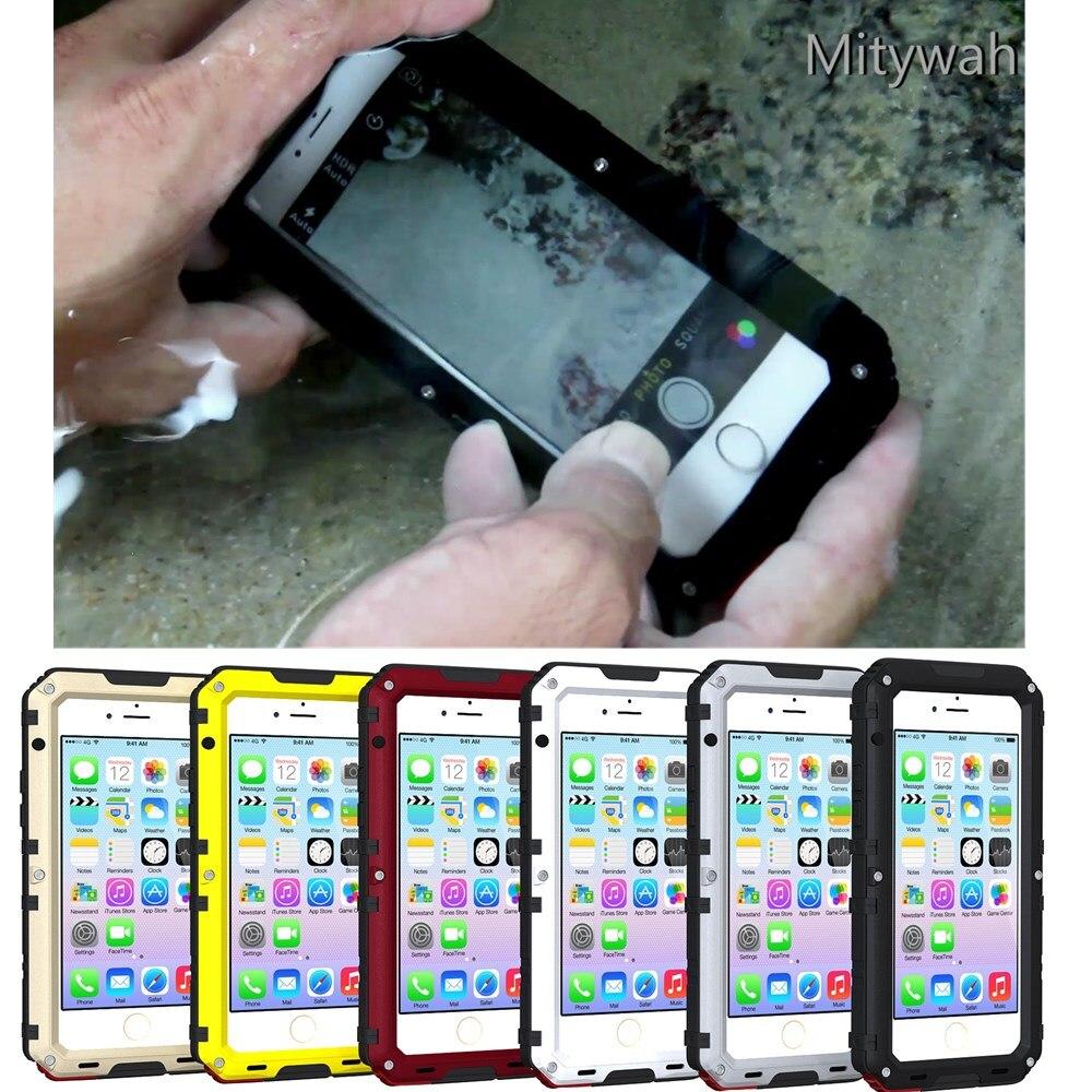 bilder für Luxus IP68 100% Wasserdichte Metall Aluminium Rüstung Hard Case Für iPhone 5 5 s SE 6 6 s 7 Plus Unterwasser 3 Mt Tauchen Abdeckung fällen