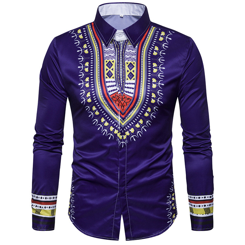 Robe Africaine African Clothing Hot Autumn And Winter New National Costumes, Totem Stamps, Mens Large Size Long Sleeved Shirt
