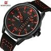 NAVIFORCE Watches Men Quartz Wristwatch Leather Strap Week Display Big Face Analog Sport Military Male Clock