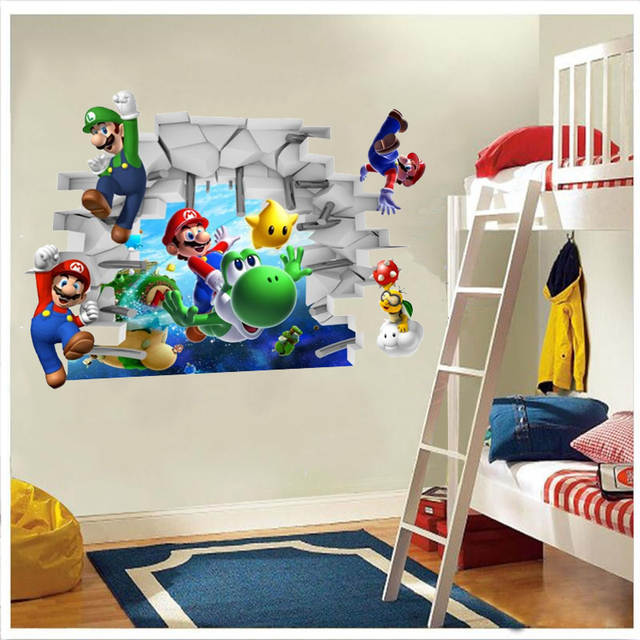 US $2.35 18% OFF|Super Mario Bros Kids Removable Wall Sticker Decals  Nursery Home Decor Vinyl Mural for Boy Bedroom Living Room Mural Art-in  Wall ...