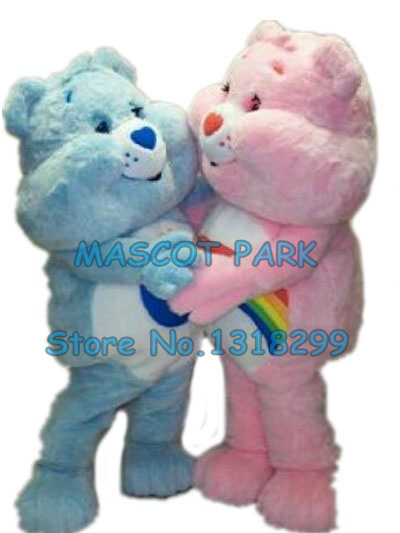 cute bear mascot costume adult size factory custom 1 piece blue/pink care bear them anime cosply 2954