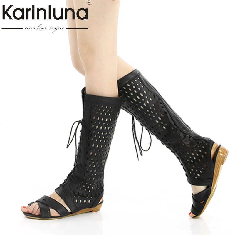 KarinLuna Brand best quality Big Size 32 45 Customization Summer Boots Shoes Women Fashion Lace Up