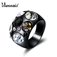 Viennois Vintage Black Gun Color Size Rings For Women Multicolor Rhinestones Paved Female Finger Ring Party