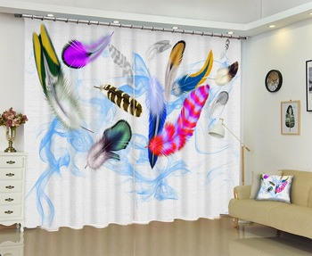 Creative Colored Feathers Photo 3D Curtains for Bedding Room Living Room or Hotel Cortians Thick Sunshade Window Curtains