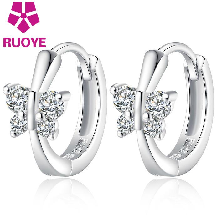 New Fashion Silver Stud Earrings Butterfly Luxury Crystal Earrings For Women Ear Buckle Jewelry