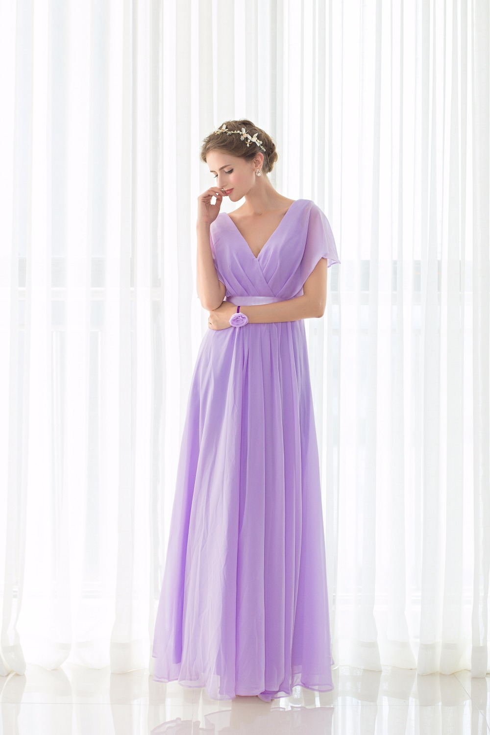 Real Pictures robe honneur Long Lilac Bridesmaid Dresses Short Sleeves V neck Floor Length Chiffon Bridesmaid Gown Free Shipping 1