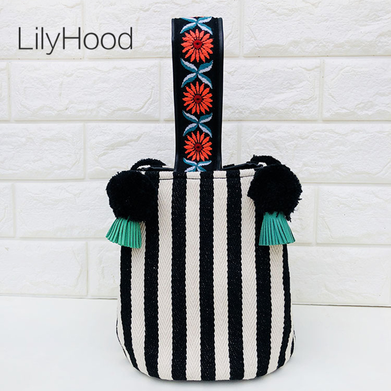 LilyHood Striped Canvas Shoulder Bag Female Cute Sweet Kawaii Black and White Striped Pom Pom Bucket Top Handle Crossbody Bag striped embroidery pom pom detail blouse