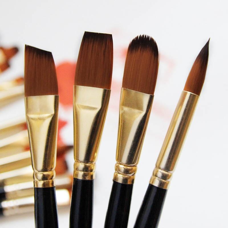 Набор кистей для рисования для художника 5 шт Высокое качество нейлоновые волосы деревянной черной ручкой акварель масляная акриловая кисть для рукоделия 2
