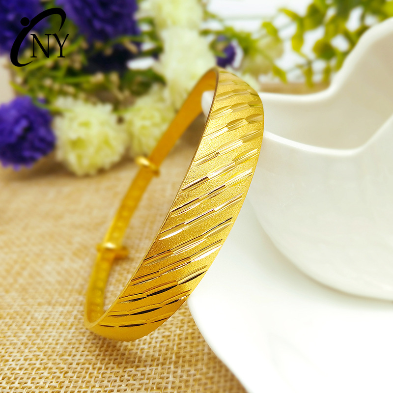 Fashion jewelry bracelet,Meteor shower wide-face push-pull bracelet,Gold color jewelry,Ladies accessories bangles