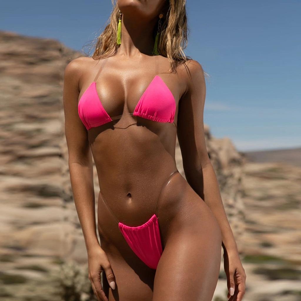 HTB1K9N7TCzqK1RjSZPcq6zTepXa1 Transparent micro bikini 2019 Sexy thong swimsuit separate Bandeau Bikini Set Push-Up Clear Strap Brazilian Swimwear Biquini #H