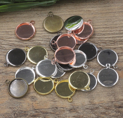 10mm,12mm,14mm,16mm,18mm,20mm,25mm 10pcs/bag Silver/Gold/Black Copper Blank Charms Pendant Trays Base Setting Cameo Cabochon high quality 12mm 14mm 16mm 18mm 20mm 316 stainless steel bangle base bracelet blank findings tray bezel setting cabochon cameo