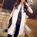 La primavera y el verano traje de chaleco chaleco chaleco de moda medio-largo más tamaño ropa exterior femenina