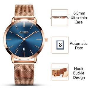 Image 2 - 超薄型レディース腕時計ブランドの高級腕時計女性防水ローズゴールドステンレス鋼腕時計 montre ファム