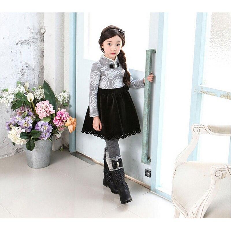 Buenos Ninos 2015 Korean Fashion Kids Girl Princess Woolen Dresses Winter Printed Patchwork Long SleeveTurtleneck Children Dress korean fashion shop 7th 6388 2015