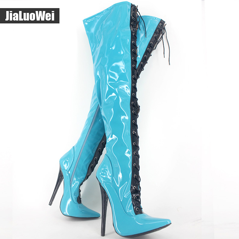 jialuowei Brand New 18cm Extreme High Heel Sexy Fetish Over Knee Thigh Long Boots Woman Pointed Toe Fashionable Boots For Women jialuowei brand new 18cm extreme high heel sexy fetish over knee thigh long boots woman pointed toe fashionable boots for women