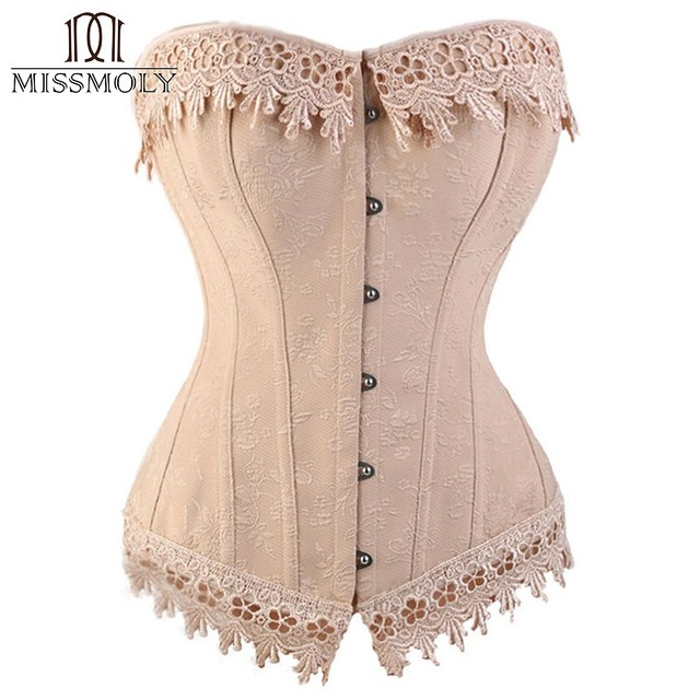Miss Moly Womens Sexy Corset Top Bustier Overbust Pink  Lace Up Back Lingerie Shapewear Cincher Waist Slimming Corsets S-6XL