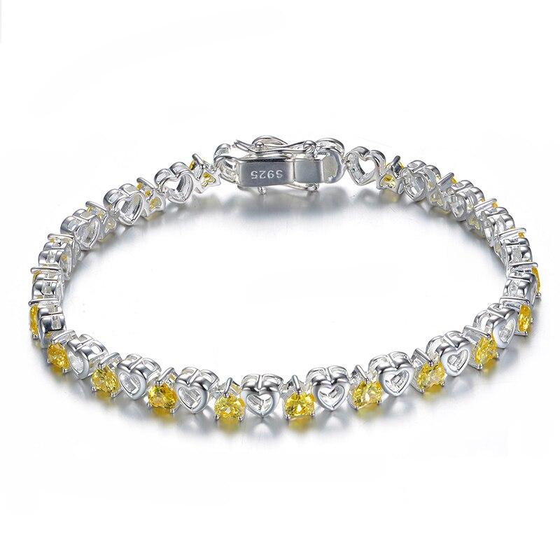 Bracelet en argent Sterling 925 zircon cubique jaune avec maillons de chaîne pour femmes Bracelet de bijou breloque de mode de mariage