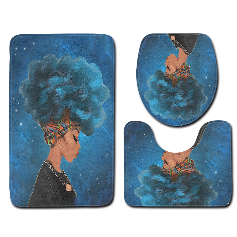 3pcs Bathroom Rug Sets Anti Slip Blue Pattern African Woman Hairstyle Bathroom Floor Mat and Toilet Mat Sets