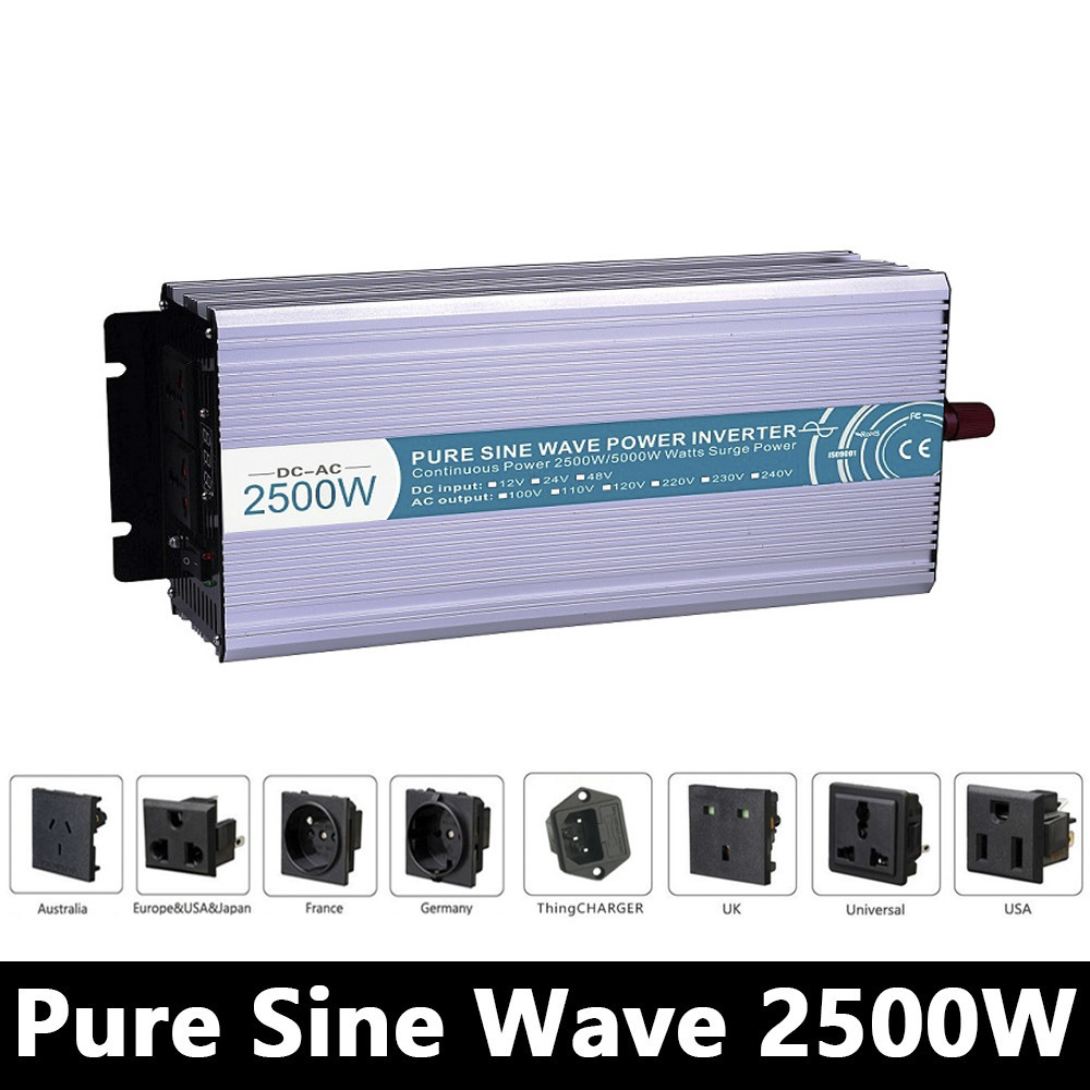 Full Power 2500W Pure Sine Wave Inverter,DC 12V/24V/48V To AC 110V/220V,off Grid Power Inverter Work With Solar Battery Panel
