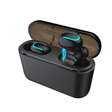 Q32 TWS Bluetooth Earphones Mini Wireless Headset Stereo Deep Bass Earphone with charging box 1500mAh Power bank for phone все цены