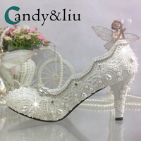 White Lace Pearl Wedding Shoes Handmade Shallow Slip on Women Pumps Crystal Beaded for Party Banquet Evening Dress Photography